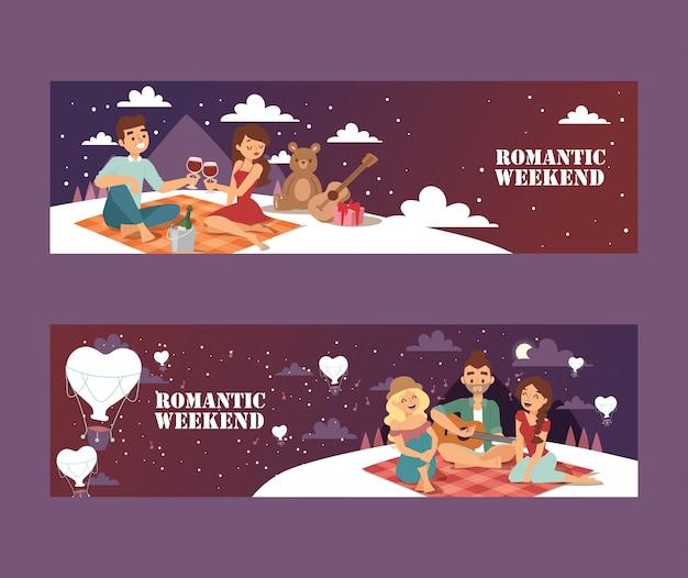 Picnic romantico nel weekend coppia giovane ad un appuntamento romantico sotto le stelle con vino e regali