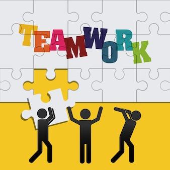 Pictograms puzzle design supporto di lavoro di squadra