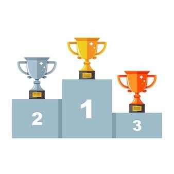 Piedistallo con tre tazze. oro, argento e bronzo. cerimonia di premiazione. illustrazione ventosa piatta.