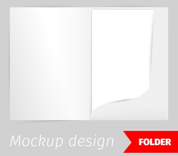 Piega design realistico mockup con effetto ombra