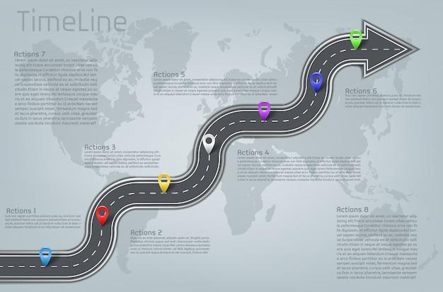 Pietra miliare della mappa del mondo di forma della freccia curvata aziendale della strada dell'automobile della società