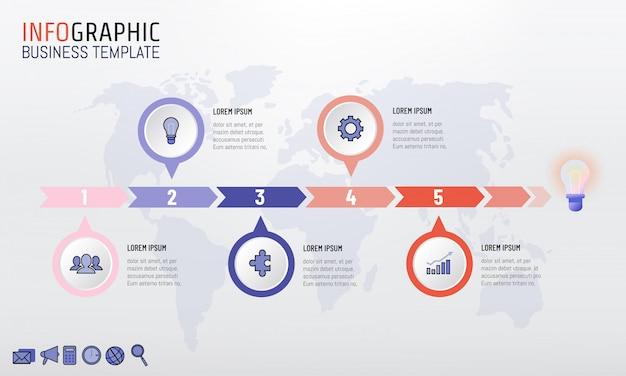Pietra miliare di cronologia di idea di affari di infographic con 5 opzioni