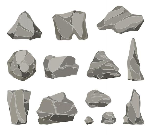 Pietre di roccia. mucchio di pietre, carbone e rocce di grafite per pareti o ciottoli di montagna. ciottoli della ghiaia, insieme dell'illustrazione delle icone di vettore isolato fumetto di pietra grigio del mucchio.