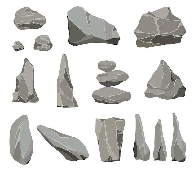 Pietre di roccia. mucchio di pietre, carbone e rocce di grafite per pareti o ciottoli di montagna.