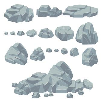 Pietre di roccia. rocce di pietra naturali, massi massicci. scogliera di ciottoli di granito e cumulo di pietre per il paesaggio montano. insieme di vettore del fumetto