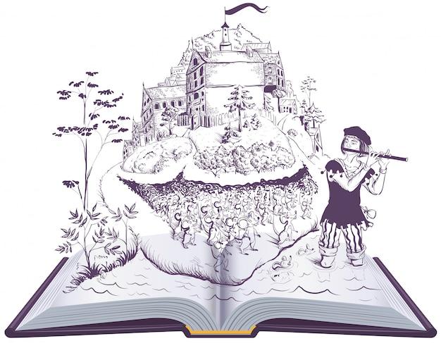 Pifferaio pezzato della fiaba dell'illustrazione del libro aperto di hamelin