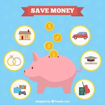 Piggy bank con risparmio