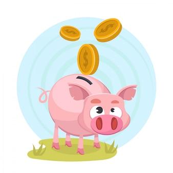 Piggybank con soldi