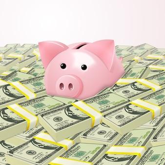 Piggybank in mucchio di soldi