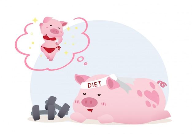 Pigro maiale da sogno dieta concettuale concettuale