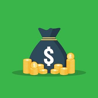 Pila delle monete d'oro, borsa dei soldi per risparmiare profitto. calcolo, analisi dei dati, relazione concetto di investimento.