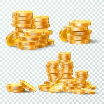 Pila di insieme isolato monete di oro