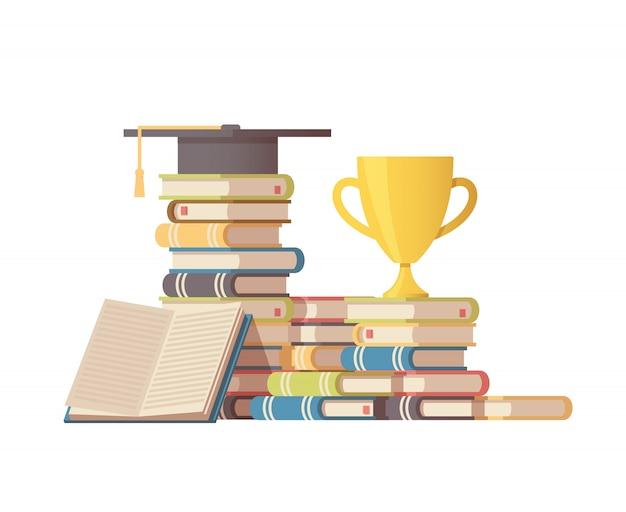 Pila di libri, cappello laureato e coppa del vincitore in alto.