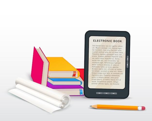 Pila di libri con il libro elettronico, il cappuccio di graduazione e la matita isolati su bianco