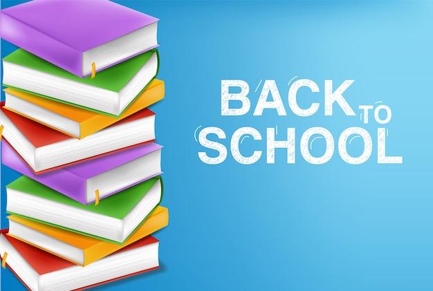 Pila di libri di nuovo al concetto di scuola