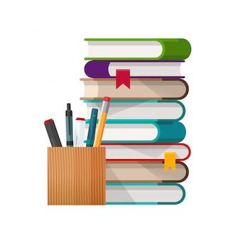 Pila di libri di scuola con il fumetto piano di vetro delle matite e delle penne isolato su bianco