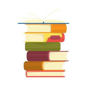 Pila di libri. mucchio di libri illustrazione vettoriale.