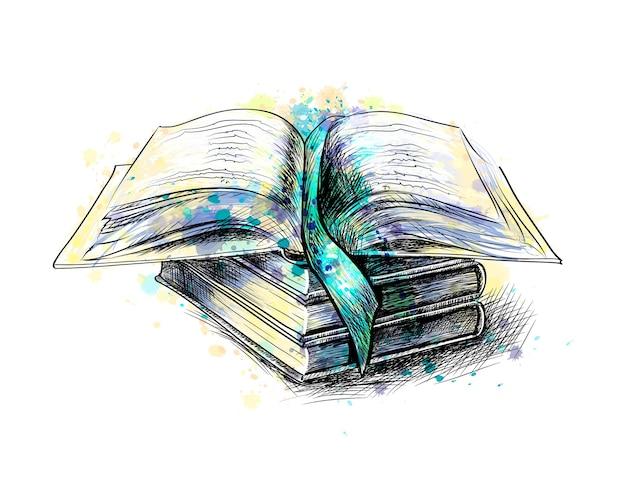 Pila di libri multicolori e libro aperto da una spruzzata di acquerello, schizzo disegnato a mano. illustrazione di vernici
