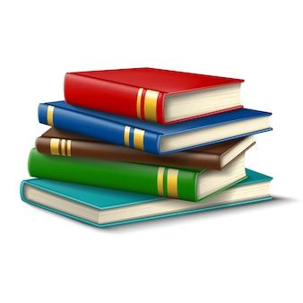 Pila di libri per studenti. icona illustrazione su sfondo bianco.