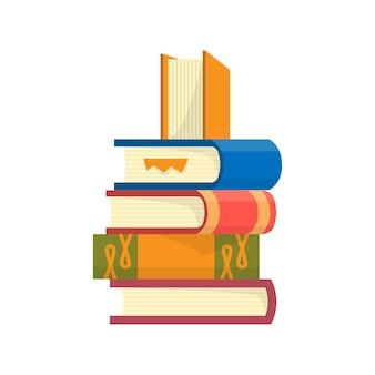 Pila di libri su uno sfondo bianco