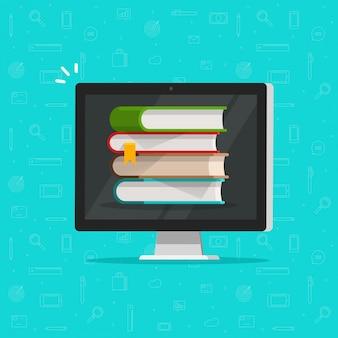 Pila di libri sul computer o sul concetto dello schermo elettronico delle biblioteche