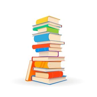Pila di libri variopinti differenti su bianco