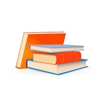 Pila di manuali di scuola luminosi isolati su bianco