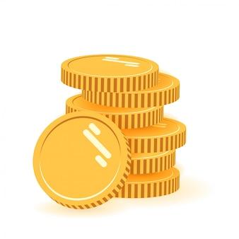 Pila di monete con la moneta davanti. icona piana, mucchio delle monete, soldi delle monete, una moneta dorata che sta sul design moderno impilato delle monete di oro isolato su fondo bianco.