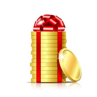Pila di monete con nastro rosso e fiocco regalo.