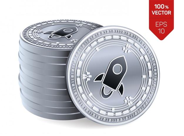Pila di monete d'argento di criptovaluta con il simbolo stellare isolato su fondo bianco.