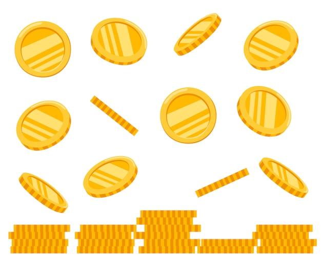 Pila di monete d'oro. monete che cadono. icona di denaro d'oro. crescita, reddito, investimento. illustrazione su sfondo bianco