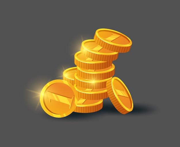 Pila di monete dorate brillanti su gray