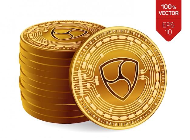Pila di monete dorate con il simbolo nem isolato su fondo bianco.