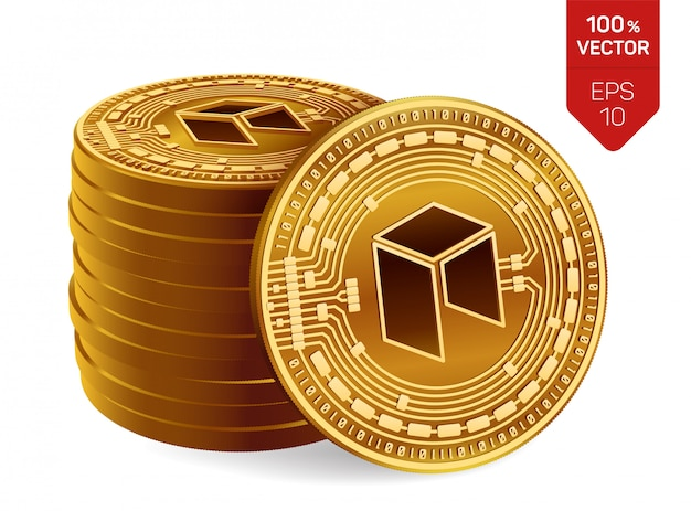 Pila di monete dorate di criptovaluta con neo simbolo isolato su sfondo bianco.