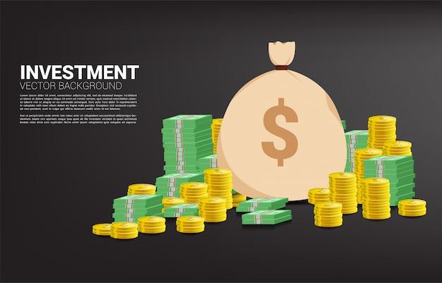 Pila di monete e banconote con sacchetto di denaro. concetto di investimento di successo e crescita nel business