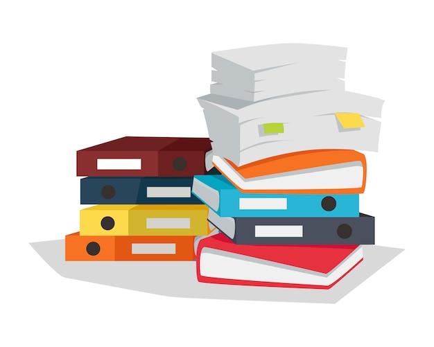 Pila di progettazione piana di vettore dei documenti su bianco.