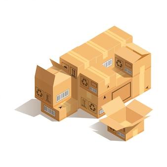 Pila di scatole di cartone isolato. concetto di imballaggio merci o in movimento. illustrazione vettoriale