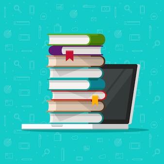 Pila o mucchio di libri sul computer portatile