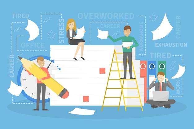 Pila o pila di fogli con piccole persone indaffarate intorno. molti concetto di lavoro d'ufficio. caos sul posto di lavoro. illustrazione vettoriale piatto