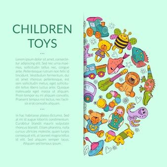 Pila rotonda di elementi di giocattoli per bambini seminascosti con il posto per il testo