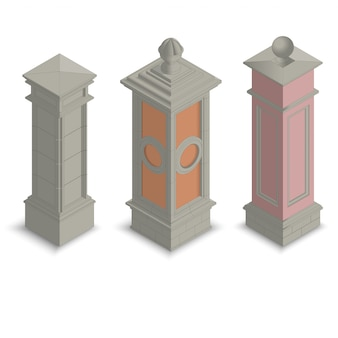 Pilastri del cancello isometrici
