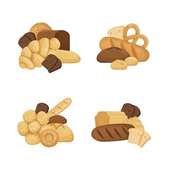Pile di elementi di panetteria cartone animato impostato isolato su sfondo bianco