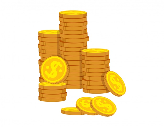 Pile ordinate di cartone animato di monete d'oro. mucchio dorato del mucchio della moneta, segno brillante di valuta della banca