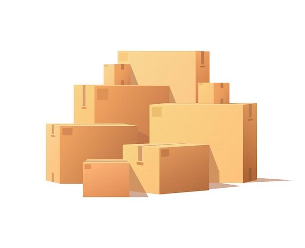 Pile pacchi scatole di cartone impilate e sigillate