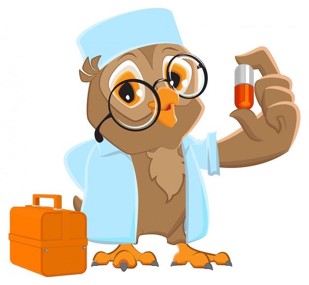 Pillola di detenzione medico gufo. owl ambulance in camice bianco