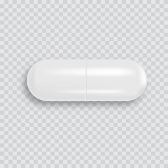 Pillola medica bianca realistica 3d con ombra molle. vettore