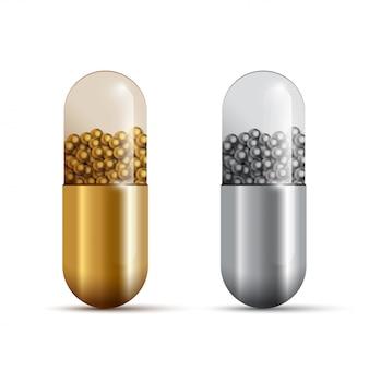 Pillole della capsula d'oro e d'argento con farmaci isolati