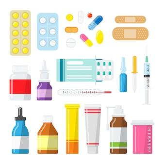 Pillole di medicina, compresse e bottiglie in uno stile piatto