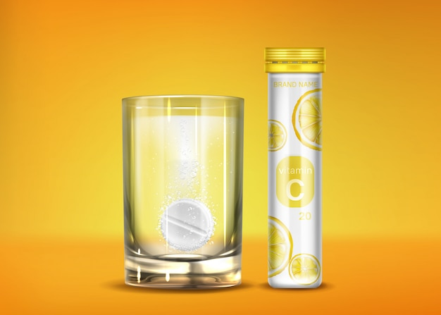 Pillole effervescenti di vitamina c con bolle frizzanti
