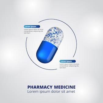 Pillole farmacia illustrazione dati infografica